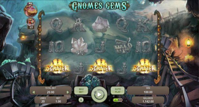 Gnomes Gems :: Three scatter symbols triggers bonus feature