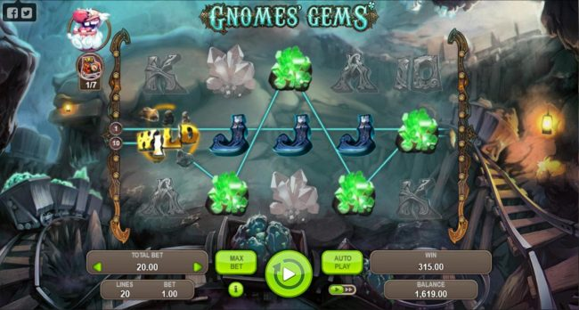 Gnomes Gems :: A 315.00 jackpot triggered by two paylines