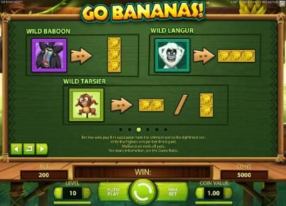 Vegas Spins featuring the Video Slots Go Bananas with a maximum payout of $7,000