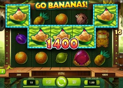 Fruity Vegas featuring the Video Slots Go Bananas with a maximum payout of $7,000