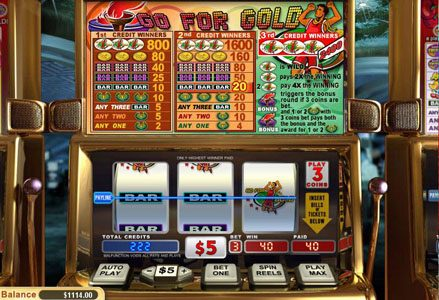 Intertops Classic featuring the Video Slots Go for Gold with a maximum payout of $24,000