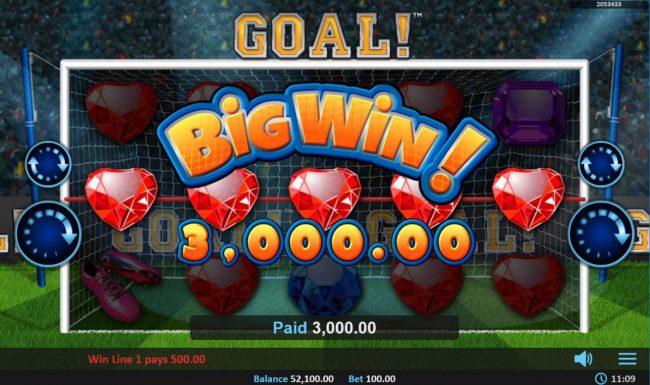 Goal! :: Goal feature triggers a 3000 coin jackpot win