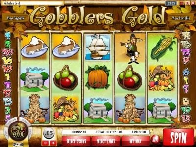 Play slots at Spintime: Spintime featuring the Video Slots Gobbler's Gold with a maximum payout of $18,750