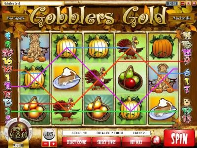 Golden Lion featuring the Video Slots Gobbler's Gold with a maximum payout of $18,750