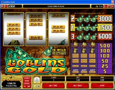 Play slots at Casino Classic: Casino Classic featuring the video-Slots Goblin's Gold with a maximum payout of $30,000