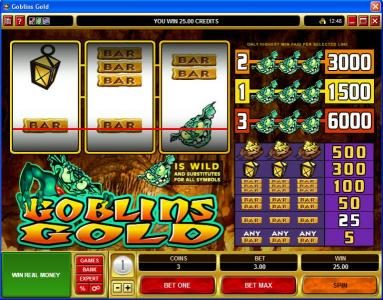 Shadowbet featuring the video-Slots Goblin's Gold with a maximum payout of $30,000
