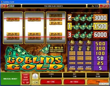Crystal featuring the video-Slots Goblin's Gold with a maximum payout of $30,000