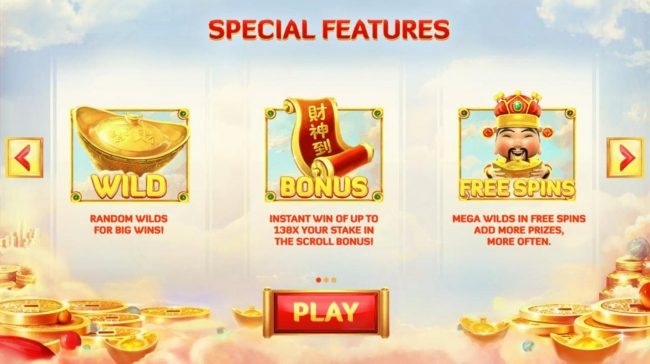 God of Wealth :: Special Features - Random Wilds, Bonus and Free Spins!