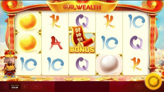 God of Wealth :: Landing Bonus icon anywhere on the middle reel triggers Pick Bonus Feature.