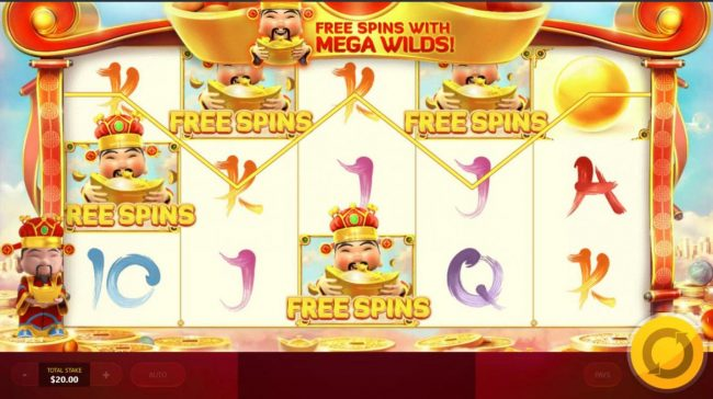 God of Wealth :: Free Spins feature triggered.