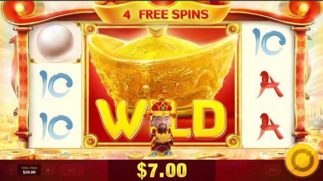 God of Wealth :: Free Games features mega symbols on reels 2, 3 and 4