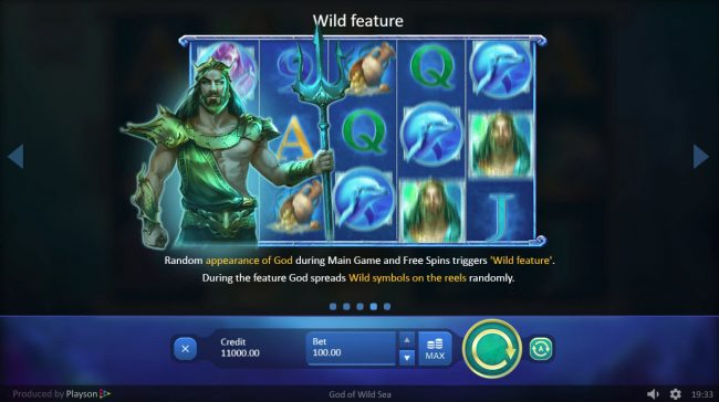 Magik Slots featuring the Video Slots God of Wild Sea with a maximum payout of $30,000