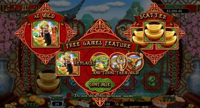 Royal Ace featuring the Video Slots God of Wealth with a maximum payout of $250,000