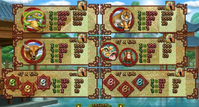Slot game symbols paytable - High value symbols include a Dargon, A Tiger and a Ox.