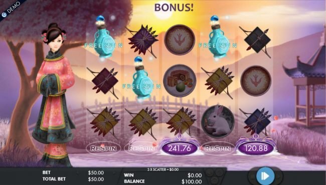 Respin feature lands another scatter symbol thus, triggering the free spins feature.