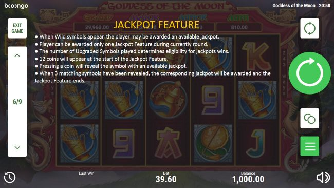 Play slots at All Wins Casino: All Wins Casino featuring the Video Slots Goddess of the Moon with a maximum payout of $78,408