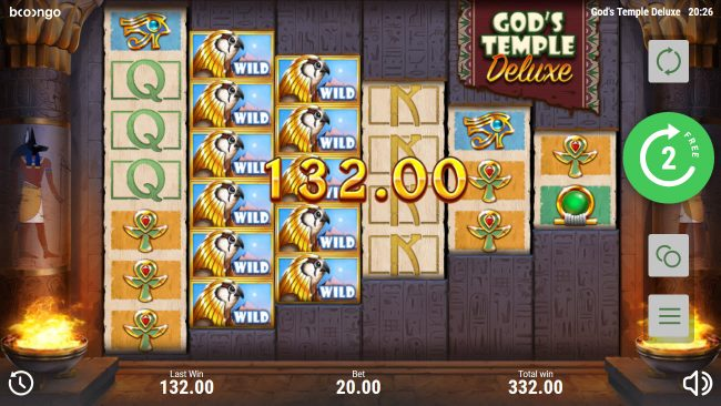 Split Aces featuring the Video Slots God's Temple Deluxe with a maximum payout of $96,000