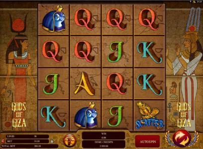 Euro Slots featuring the Video Slots Gods of Giza with a maximum payout of $2,500