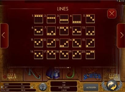 Videoslots featuring the Video Slots Gods of Giza with a maximum payout of $2,500