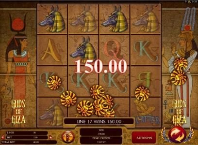 Jackpot Paradise featuring the Video Slots Gods of Giza with a maximum payout of $2,500