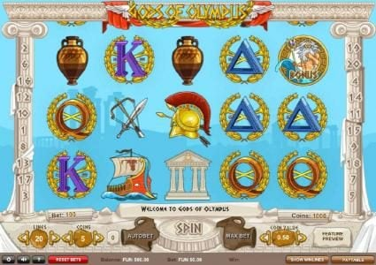 Gods of Olympus :: Main game board featuring five reels and 20 paylines with a ?22,500 max payout