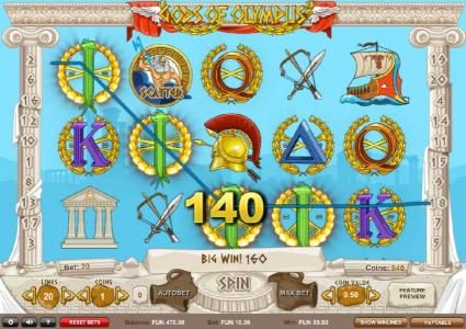 Gods of Olympus :: A 140 coin payout triggered by a four of a kind!