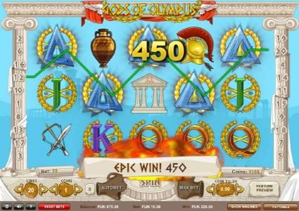 Gods of Olympus :: Five of a Kind leads to a 450 coin epix win!
