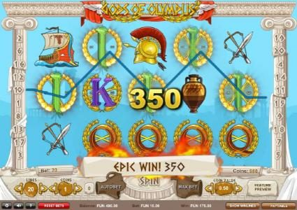 Gods of Olympus :: A 350 coin epic win triggered by a five of a kind.