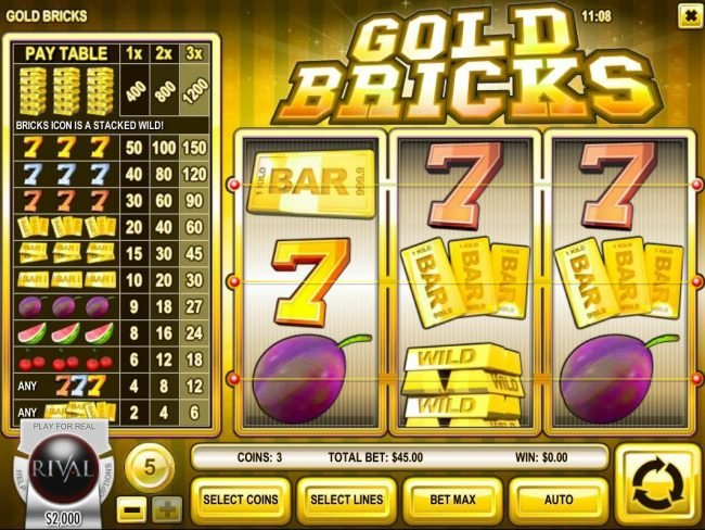 Play slots at Gibson: Gibson featuring the Video Slots Gold Bricks with a maximum payout of $6,000