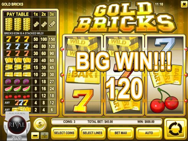 Vegas Fortune featuring the Video Slots Gold Bricks with a maximum payout of $6,000