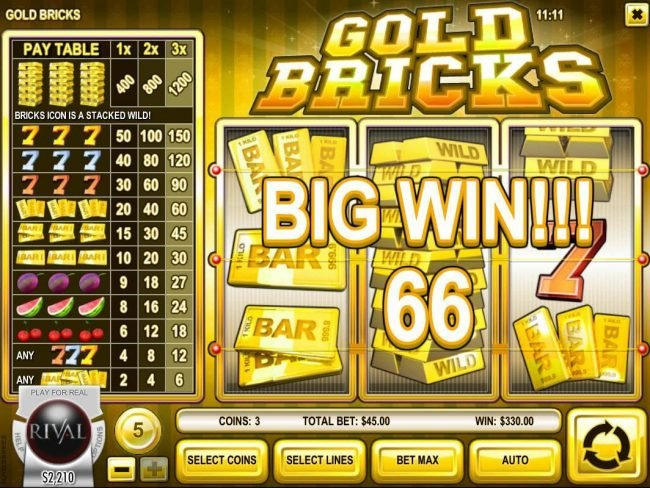 Pantasia featuring the Video Slots Gold Bricks with a maximum payout of $6,000
