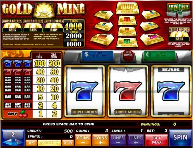 Gold Mine :: Main game board featuring three reels and 1 payline with a $8,000 max payout.
