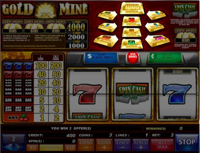Gold Mine :: Landing a Spin Cash symbol anywhere on the payline triggers the Bonus feature.