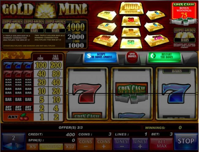 Gold Mine :: Press the Spins button to start the bonus feature. The gold bars at the top of the screen will begin to flash and award a credit prize. You can accet the prize or try again for a larger prize.