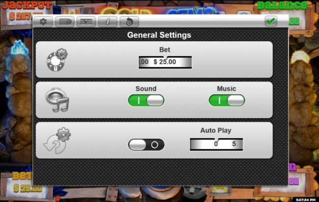 MyBcasino featuring the Video Slots Gold n Gems with a maximum payout of $125,000