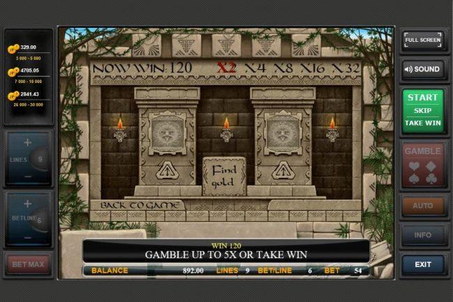 Gold of Maya :: Gamble Feature Game Board