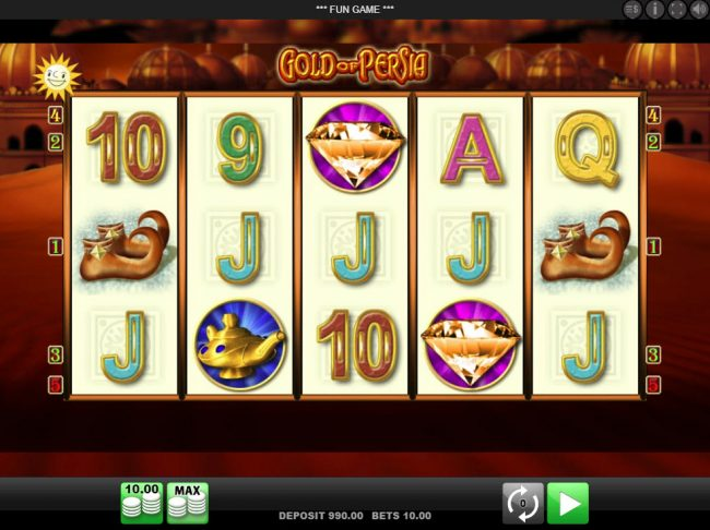 Play slots at EU Casino: EU Casino featuring the Video Slots Gold of Persia with a maximum payout of $10,000