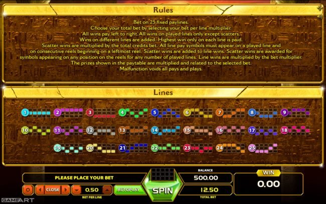 Lord of the Spins featuring the Video Slots Gold of Ra with a maximum payout of $1,250