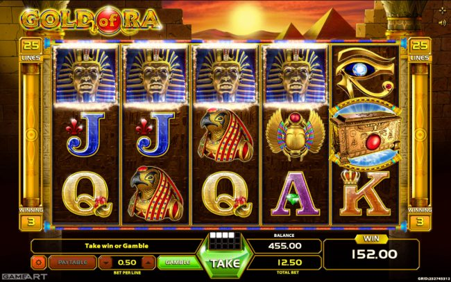 NordiCasino featuring the Video Slots Gold of Ra with a maximum payout of $1,250