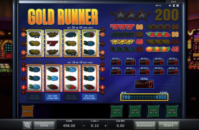 Club Vulkan featuring the Video Slots Gold Runner with a maximum payout of $8,000