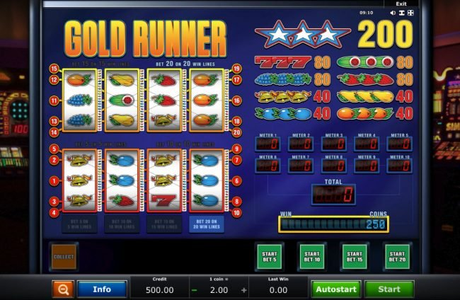 Company featuring the Video Slots Gold Runner with a maximum payout of $8,000