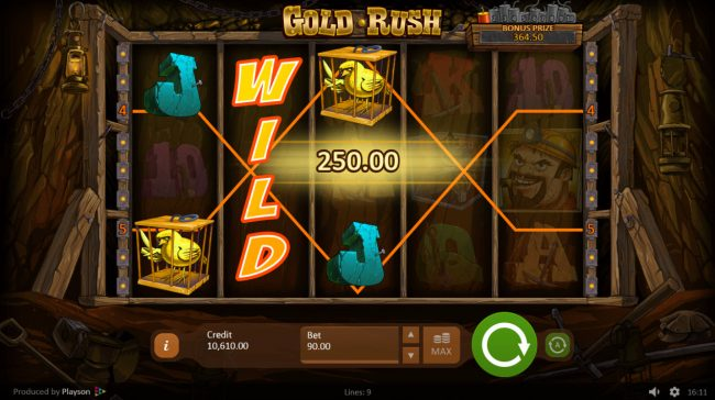 Jellybean Casino featuring the Video Slots Gold Rush with a maximum payout of $135,000