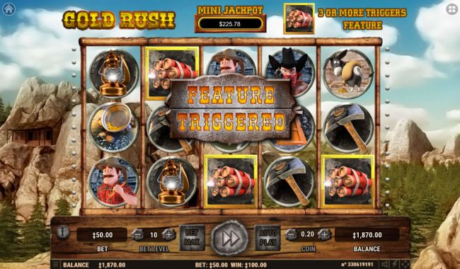 Vegas Crest featuring the Video Slots Gold Rush with a maximum payout of $200,000