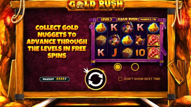 Play slots at Casino Sieger: Casino Sieger featuring the Video Slots Gold Rush with a maximum payout of $62,500