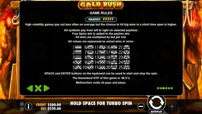 Crystal Casino Club featuring the Video Slots Gold Rush with a maximum payout of $62,500