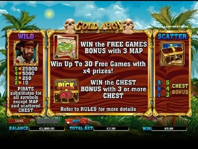 wild, scatter and free games feature paytable