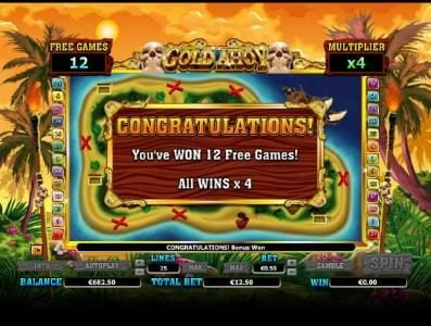 12 free games awarded and a 4x multiplier
