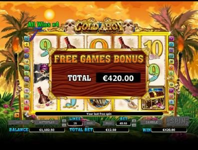 bonus feature pays out a $420 jackpot