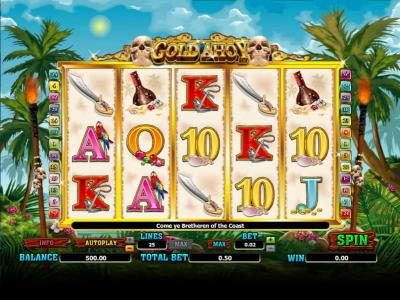Spinrider featuring the Video Slots Gold Ahoy with a maximum payout of 25000x