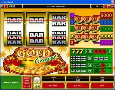 Slots Magic featuring the Video Slots Gold Coast with a maximum payout of $30,000